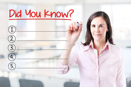 explanations: Business woman writing blank Did you know? List. Office background.