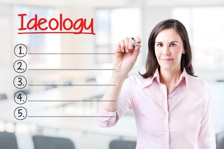 ideology: Business woman writing blank Ideology list. Office background.