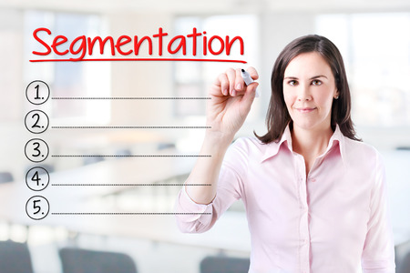 relationsip: Business woman writing blank Segmentation list. Office background.