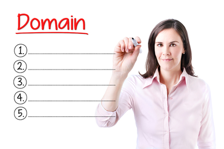 dynamic html: Business woman writing blank domain list. Isolated on white. Stock Photo