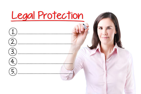 liable: Business woman writing blank Legal Protection list. Isolated on white.