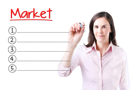 decoding: Business woman writing blank Market list. Isolated on white. Stock Photo