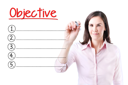 audits: Business woman writing blank Objective list. Isolated on white.