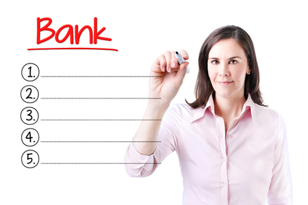interst: Business woman writing blank bank list. Isolated on white.
