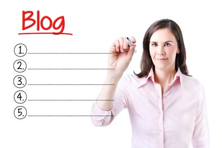 microblogging: Business woman writing blank blog list. Isolated on white.