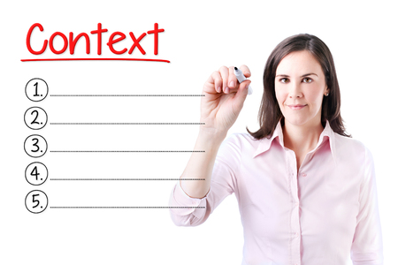 context: Business woman writing blank Context list. Isolated on white.