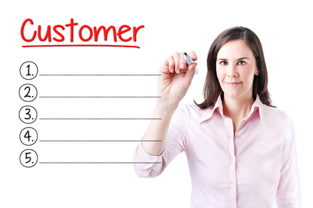 customer facing: Business woman writing blank Customer list. Isolated on white.