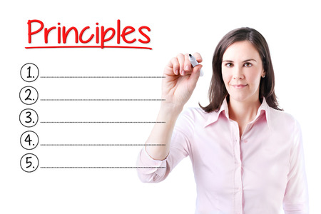 correctness: Business woman writing blank Principles list. Isolated on white.