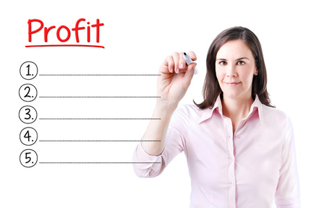 Business woman writing blank Profit list. Isolated on white.