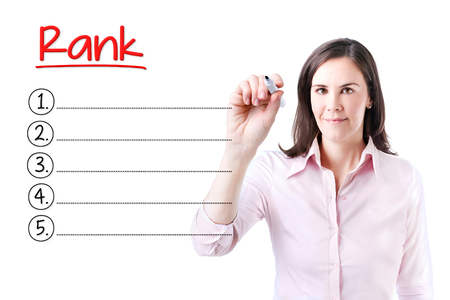 Business woman writing blank rank list. Isolated on white.