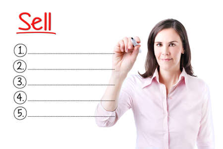 cohesive: Business woman writing blank Sell list. Isolated on white.