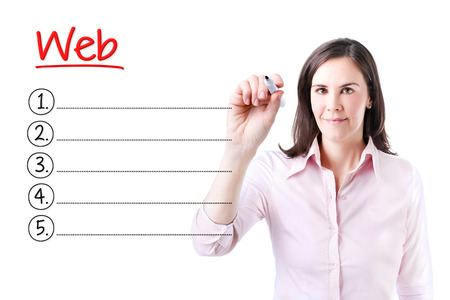 microblogging: Business woman writing blank Web list. Isolated on white.