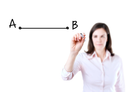 shortest: Business woman drawing the shortest way to move from point A to point B. Isolated on white.
