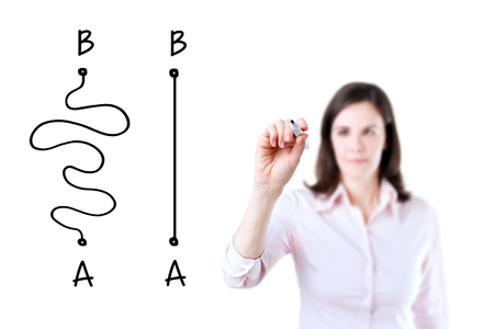 shortest: Business woman drawing a concept about the Importance of Finding the shortest way to move from point A to point B, or finding a simple solution to the problem. Isolated on white. Stock Photo