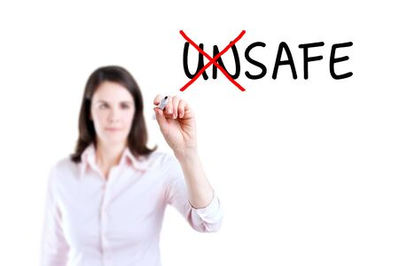 unsafe: Businesswoman Choosing Safe INSTEAD OF Unsafe. Isolated on white.