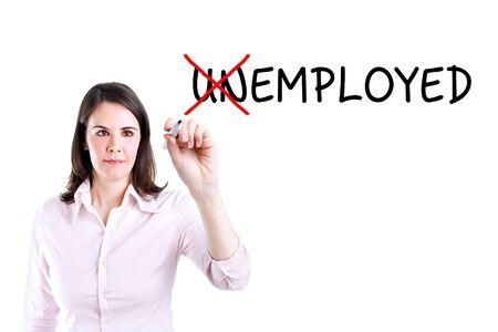 employed: Businesswoman change unemployed to employed. Isolated on white.