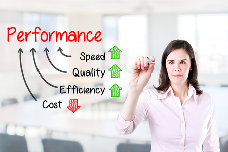 business performance: Businesswoman writing performance concept of quality Increase speed and efficiency Reduce cost. Office background.