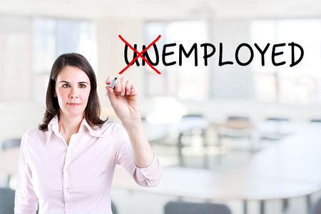 employed: Businesswoman change unemployed to employed. Office background.
