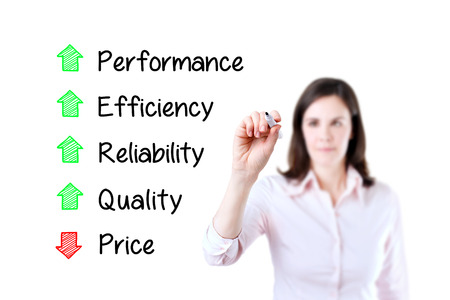 decreased: Businesswoman writing Decreased price compare with Increased Quality, Reliability, efficiency, performance. White background.