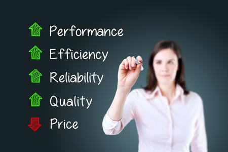decreased: Businesswoman writing Decreased price compare with Increased Quality, Reliability, efficiency, performance. Blue background. Stock Photo