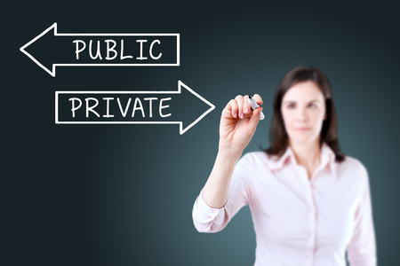 public private: Businesswoman drawing a Private or Public concept on the screen. Blue background.
