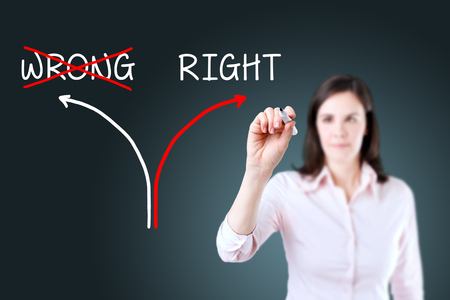 rightful: Choosing The Right Way INSTEAD of the Wrong one. Blue background. Stock Photo
