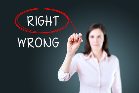 answer approve of: Choosing the Wrong Right INSTEAD OF. Right selected with red marker. Blue background. Stock Photo