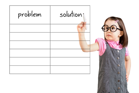 collate: Cute little girl wearing dress and writing business problem and solution in blank list. White background.