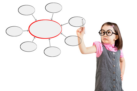 conjoin: Cute little girl wearing business dress and writing diagram of centralization. White background. Stock Photo