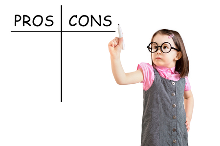 cons: Cute little girl wearing business dress and writing pros and cons comparison concept. White background.