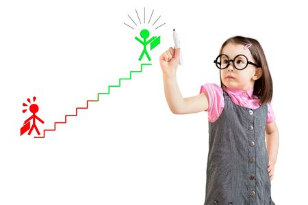 smart goals: Cute little girl wearing business dress and drawing on the career ladder concept. White background. Stock Photo