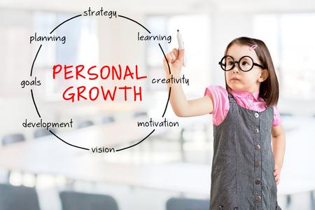 Niña linda con un vestido de negocio y dibujo diagrama de la estructura circular del concepto de crecimiento personal. Fondo de la oficina.