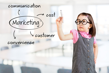 Cute little girl wearing business dress and writing marketing concept - customer, cost, convenience, communication. Office background.