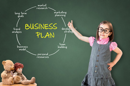 mindmap: Cute little girl wearing dress business concept and business plan showing on green chalk board.