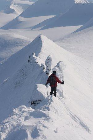 snow climbing: climbing on snow, Svalbard Norway Stock Photo