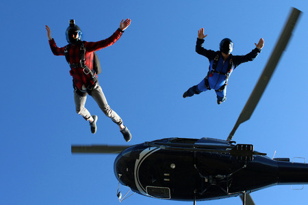 parachute jump: Skydiving in Norway Stock Photo