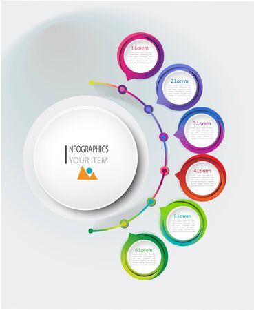 Visualizzazione dei dati aziendali. Diagramma di processo. Elementi astratti del grafico, diagramma con passaggi, opzioni, parti o processi. Modello di affari di vettore per la presentazione. Concept creativo per infografica. Vettoriali