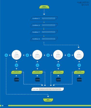 Establecer visualización de datos de negocios de infografía. Gráfico de proceso, diagrama de flujo de algoritmo de gráfico, diagrama con pasos, opciones o procesos. Plantilla de vector para presentación, ilustración creativa de infografía.