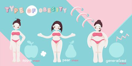 character. Fat girl. Cartoon vector illustration.