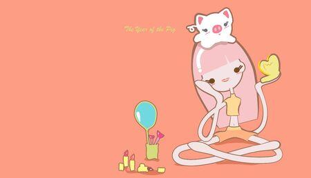 cute girls vector design set Zodiac concept Иллюстрация