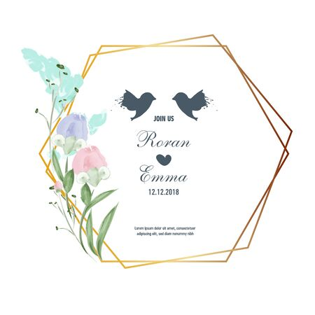 Vintage Floral Greeting Card flowers frame in watercolor style. Illustration