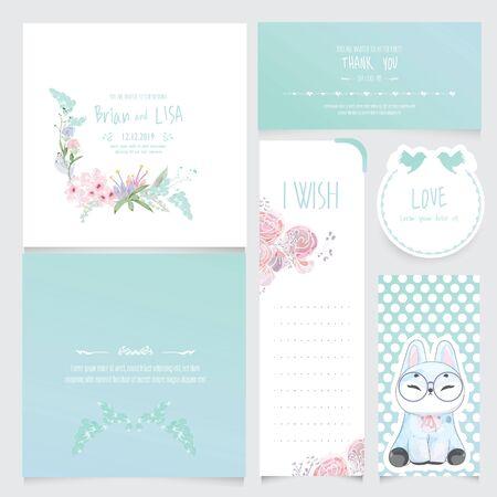 Conjunto de invitación de boda floral vintage en estilo acuarela. Ilustración de vector