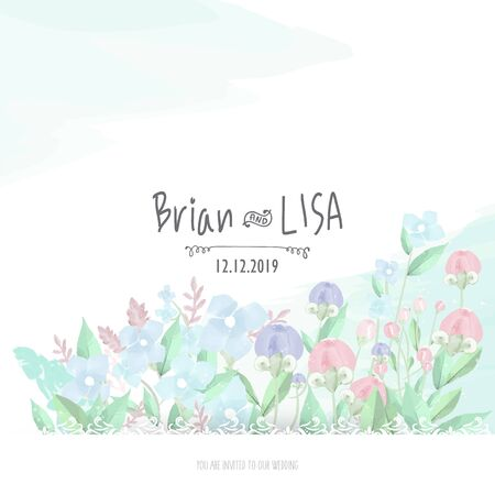 Sweet Floral Wedding Card in watercolor style.