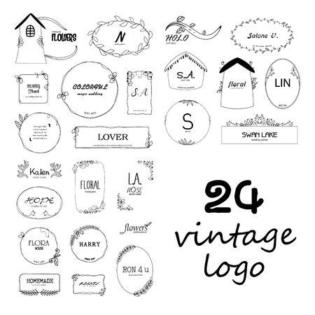 24 logotipos de flores vintage.