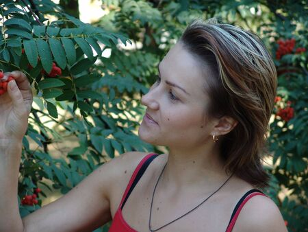 The girl with a mountain ash