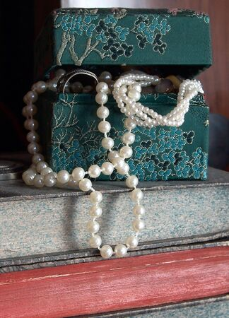 Casket with pearls Stock Photo