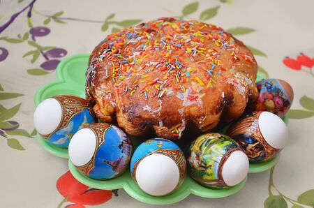 sanctified: Easter cake with eggs on the table are sanctified