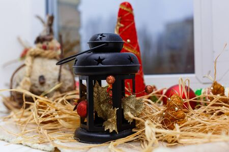 Christmas lamp-lantern New Years decoration red old