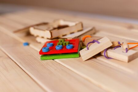 wooden game block abstract with bokeh puzzles
