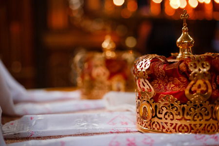 christian marriage: Crown for Wedding in Orthodox church gold